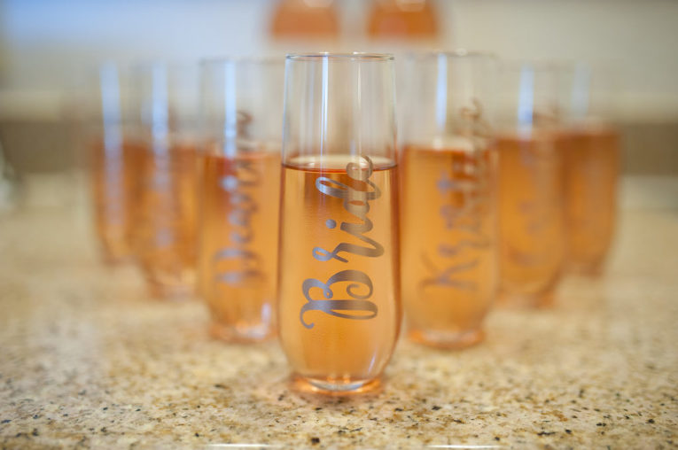 bride drinking glasses